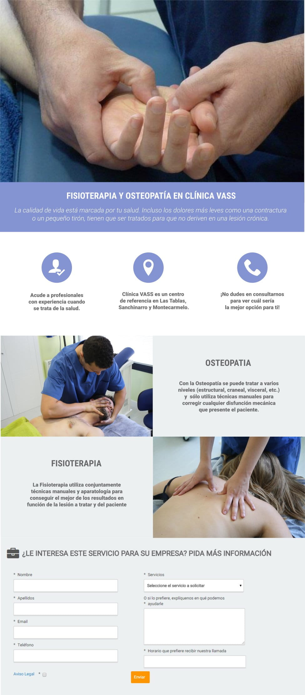 Landing Fisioterapia y Osteopatía